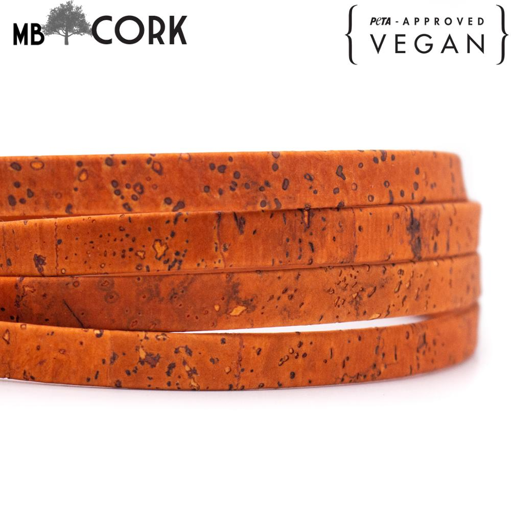 Orange Cork 10mm flat cork cord Portuguese cork jewelry supplies Findings cord vegan material Cor-330