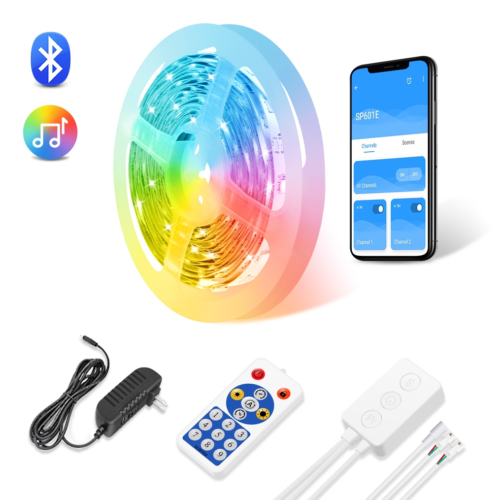LED Strip Lights RGB-IC Bluetooth Color Changing Rainbow LED Lights APP Control Smart Music Lights for Bedroom RoomParty