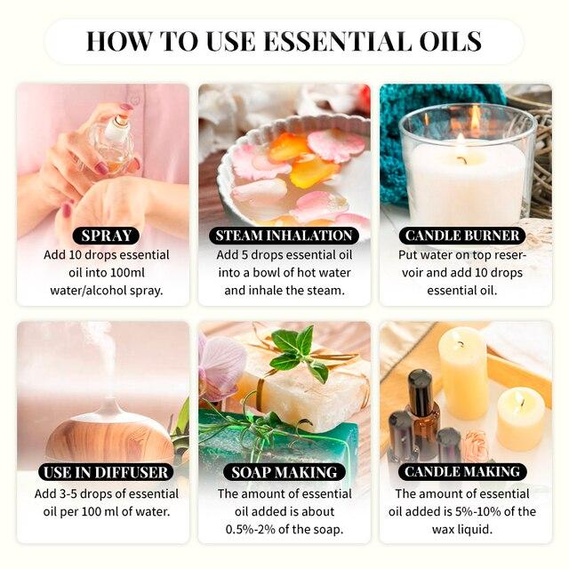 Sweet Orange Essential Oils 10ML with Dropper Diffuser Aroma Oil Lavender Eucalyptus Vanilla Peppermint Frankincense Oil 5