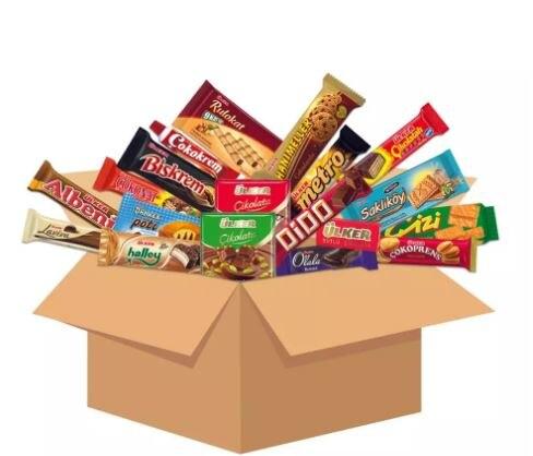 Boîte de Snacks internationale variés, boîte de Snacks turcs célèbres et populaires, boîte de Snacks étrangers, nourriture halale moyenne et grande