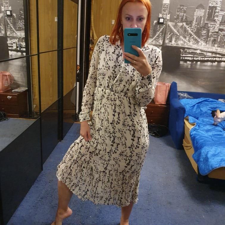 White Chiffon Dress Korean Floral Printing Ruffles Midi Dress Pleated Hem Elegant Party Vestidos photo review