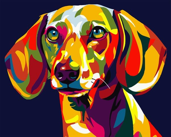 Painting On The Numbers Rainbow Dachshund, 40x50 Cm