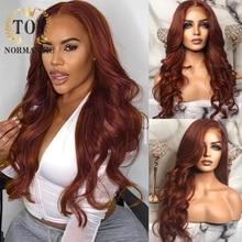Topnormantic 13x4 frente de encaje pelucas con minimechones Color marrón brasileño Remy Peluca de cabello humano para las mujeres de la onda del cuerpo sin costuras pelucas