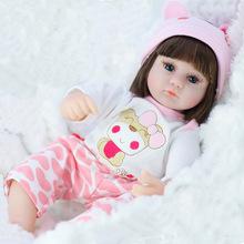 42CM Baby Reborn lalki zabawki dla dziewczynek winylu spania 17 Cal urocza realistyczne maluch noworodków lalki niebieskie oko prezent na boże narodzenie tanie tanio Styl życia Baby dolls FR (pochodzenie) Produkty na stanie Unisex Zawody