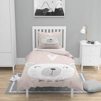 Mais 4 pçs rosa branco bonito urso coração impressão 3d algodão cetim crianças capa de edredão conjunto cama fronha folha|Capa de edredom| |  -
