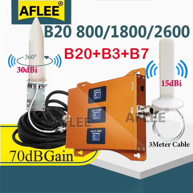 Hot!! Tri-Band B20 800 1800 2600Mhz 4G Cellular Amplifier CellPhone GSM Repeater 2g 4g Network Mobile Signal Booster LTE DCS LTE