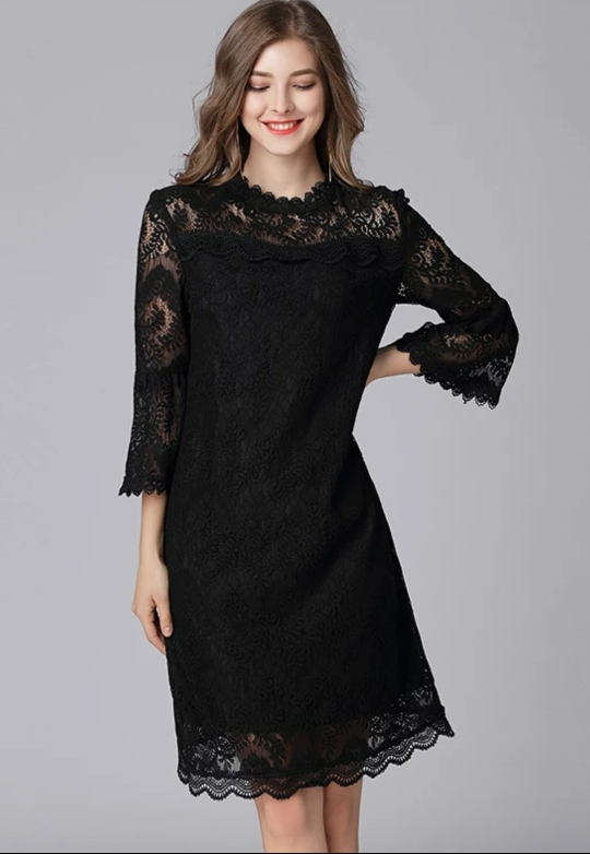 TAOYIZHUAI 2019 Autumn Women Balck Dress Large Size Hollow Out Flare Sleeve Collar Zipper Fly Casual Lace Dress For Women 16089 reviews №1 134119