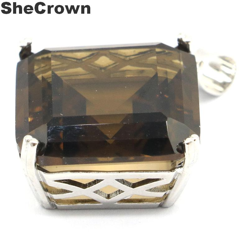 38x29mm Deluxe Big Square Shape 11g Created Smokey Topaz Woman's Jewelry Making Silver Pendant