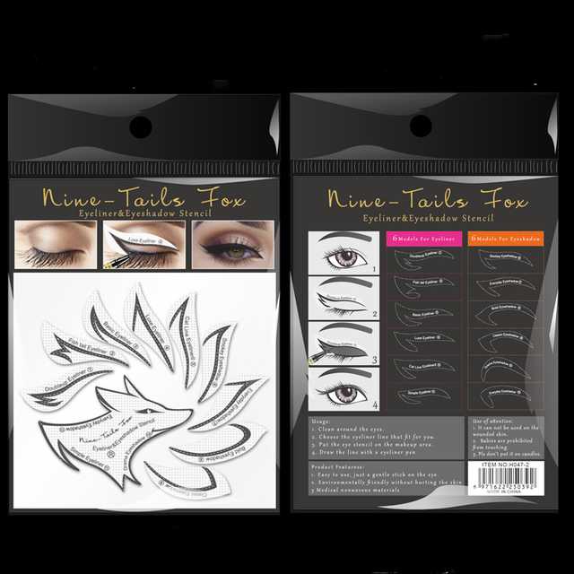 10pcs Eye Makeup Stencils Winged Eyeliner Stencil Template Shaping Tools Eyebrows Eye Shadow Makeup Template Tool stickers Card 4