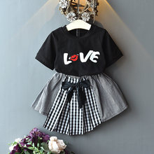 0-7Y moda yaz çocuklar bebek kız giysileri setleri aşk mektubu baskı T shirt Tops + ekose Patchwork A-Line etekler 2 adet