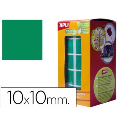 GOMETS SELF-ADHESIVE SQUARE 10X10 MM GREEN IN ROLL