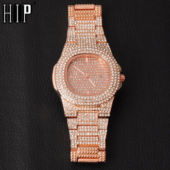 Hip Hop Mens Gold Watches Luxury Date Quartz Wrist Watches With Micropave CZ Stainless Steel Watch For Women Men Jewelry hip hop luxury mens iced out cz waterproof watches date quartz wrist watches with micropave alloy watch for men jewelry