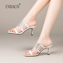 2020 New Summer Leather Slippers Women Fashion Sliders Shoes High Heel Open Toe