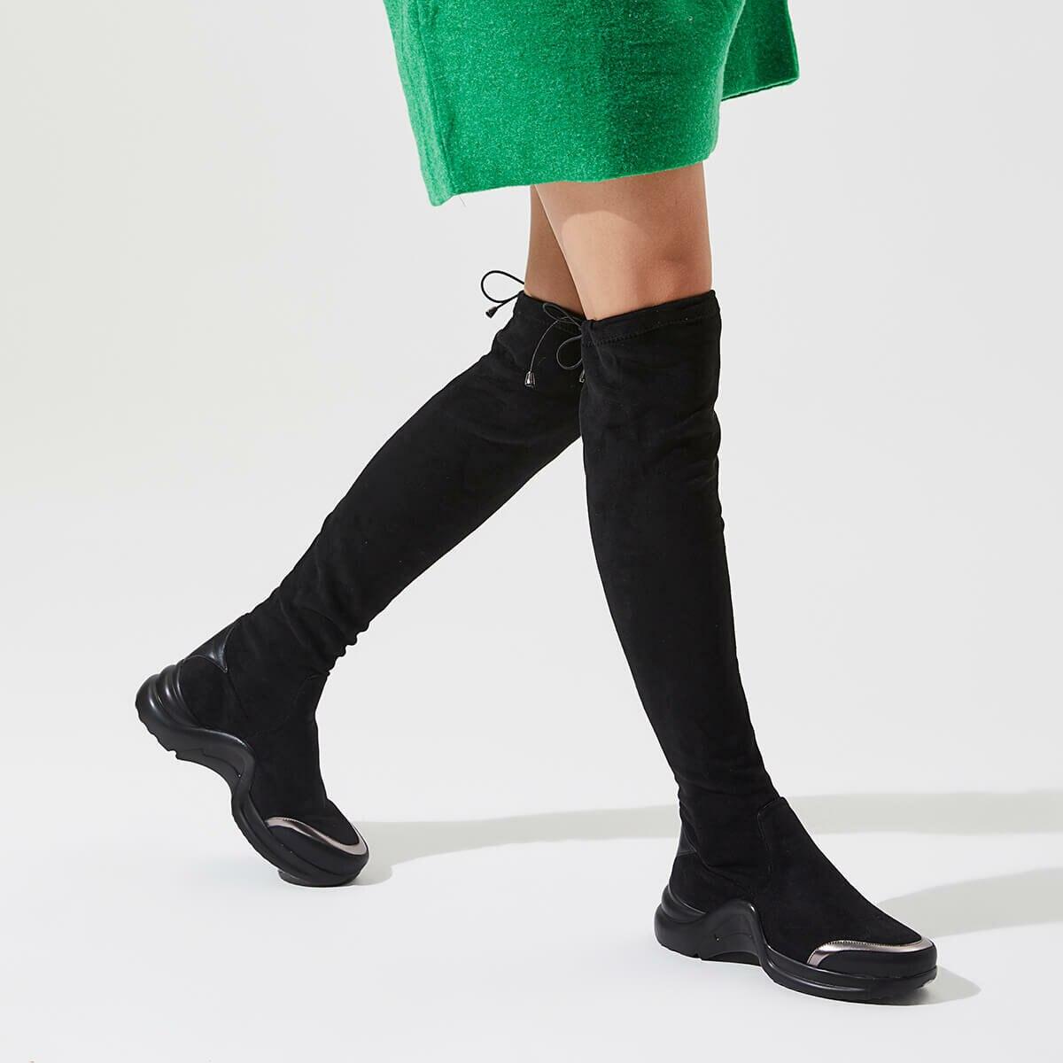 FLO AKDENIZ85Z SUEDE Black Women Boots BUTIGO