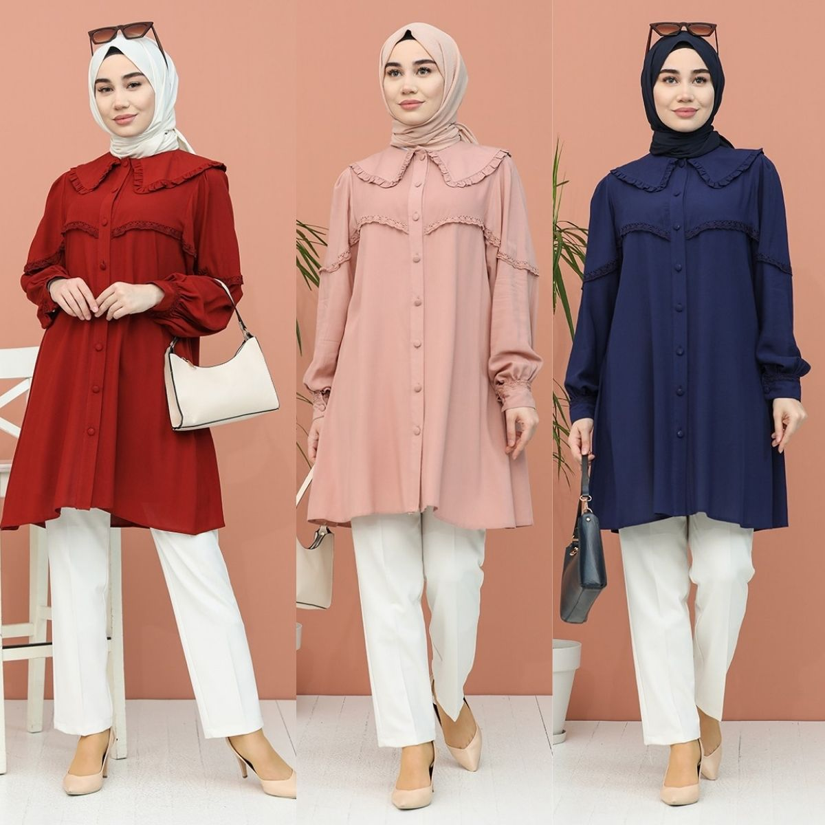 Lace Detailed Tunic Long Buttoned Sleeves Polyester Fabric Plain Unlined Casual Hijap Zero Collar 4 Season Women Muslim Fashion