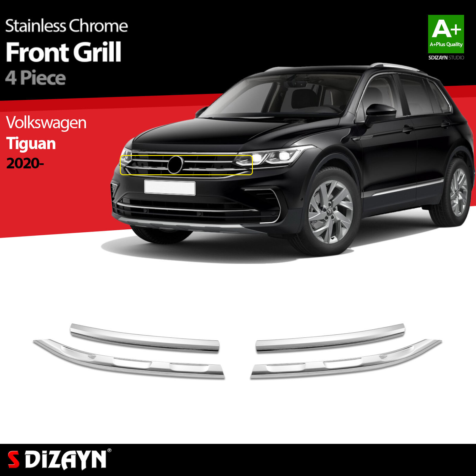 For Volkswagen Tiguan 2 Chrome Front Grill Stainless Steel 4 Pc VW Exterior Car Accessories Parts Auto Products Stickers Styling