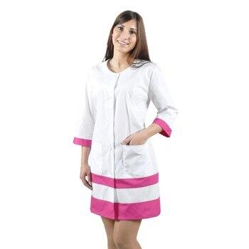 цена Female medical robe IVUNIFORMA Olesya White with лиловыми inserts онлайн в 2017 году