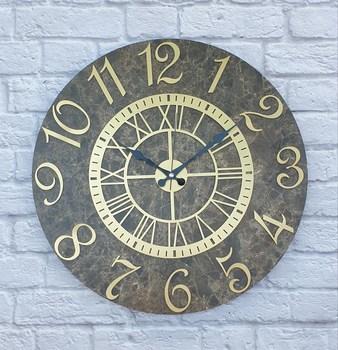 Markakanvas marmurowy wzór złoty (złoty) kolor cyfrowy zegar ścienny średnica 50 cm tanie i dobre opinie TR (pochodzenie)