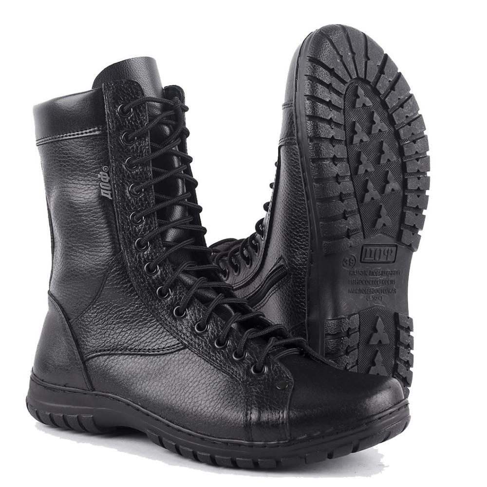 Demiseason Genuine Leather Lace-up Black Army Ankle Boots Desert Shoes Men High Shoes Flat Military Boots 0054/1 WA