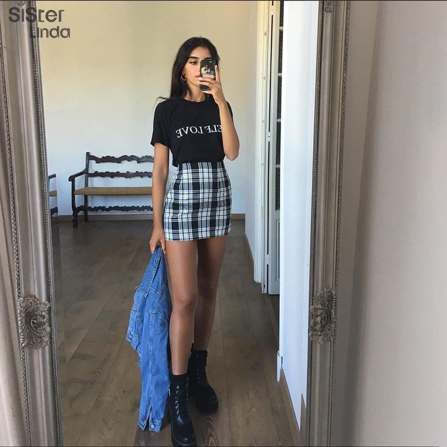Sisterlinda Vintage Black Plaid Mini Skirt Women High Waist Mini Skirt Fashion Office Lady Party Side Zipper Skirts Mujer 2019