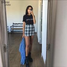 Sisterlinda Vintage Black Plaid Mini Skirt Women High Waist Mini Skirt