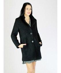 WRAP WOOLEN COOKED Jacket Elegant Long Women Fashion Casual Black color Jacket Parka