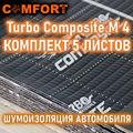Comfortmat Turbo М4 Composite, виброизолятор, комплект 5 листов 50х70см, виброматериал для авто
