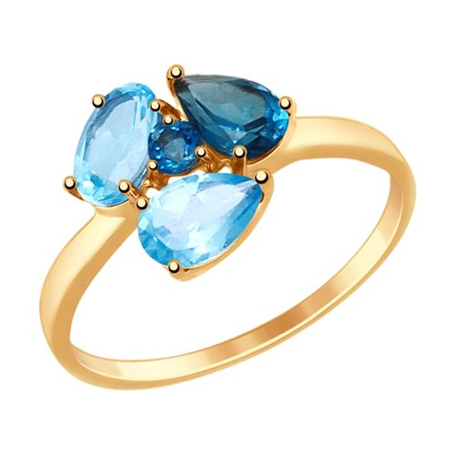 SOKOLOV Ring Gold With Blue And Blue Topaz