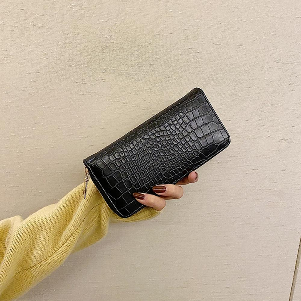 Crocodile Patent Leather Women's Wallets Fallow Long Ladies Double Zipper Wallet Clutch Bag Design Red Purse Crocodile Purses