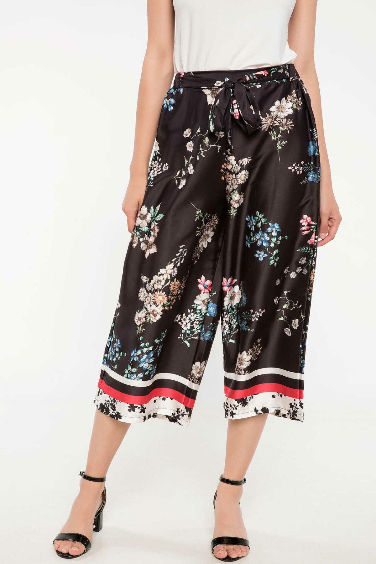 DeFacto Ladies Fashion Print Chiffon Loose Trousers For Women's Casual Pants Straight Comfort Crop Pants Female - J5382AZ18HS