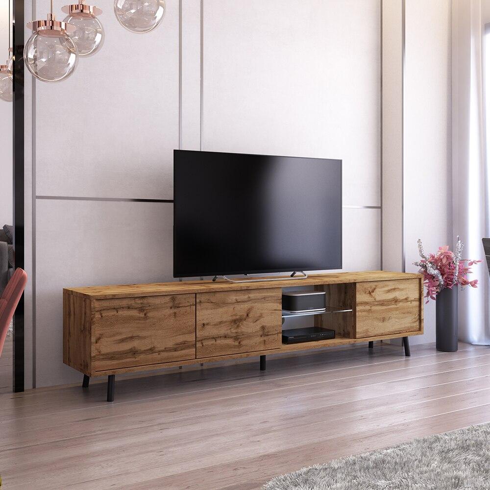 SELSEY GALHAD - Meuble tv / Meuble de salon - 175 cm - chêne wotan