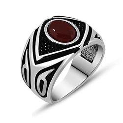 925 пробы серебряный с агатом мужское кольцо с камнем Модель-8