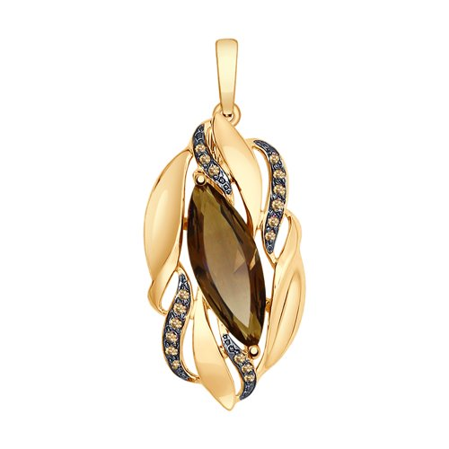 Pendant SOKOLOV Gold With Topaz And Yellow Cubic Zirconia