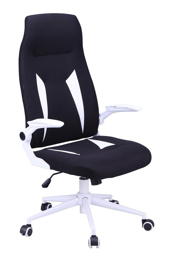 Office Armchair WORLD, High, Gas, Tilt, Fabric Black With White