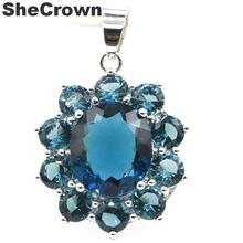 34x23mm Elegant Created Dark London Blue Topaz Woman's Party Silver Pendant