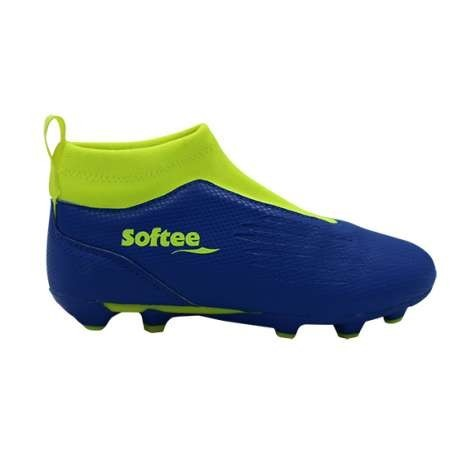 BOTA SOFTEE FUTBOL 11 GLOVE - TALLA 26 - COLOR ROYAL Y AMARILLO FLUOR