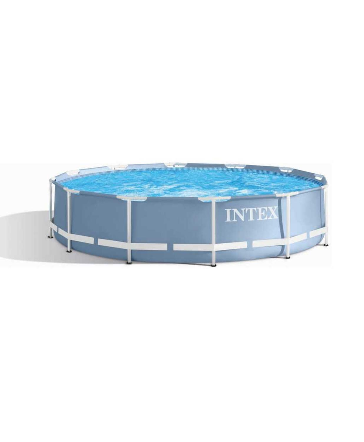 Scaffold Round Swimming Pool Summer Outdoor 366x76 Cm, 6503 L, Intex Prism Frame, Blue, Item No. 28710