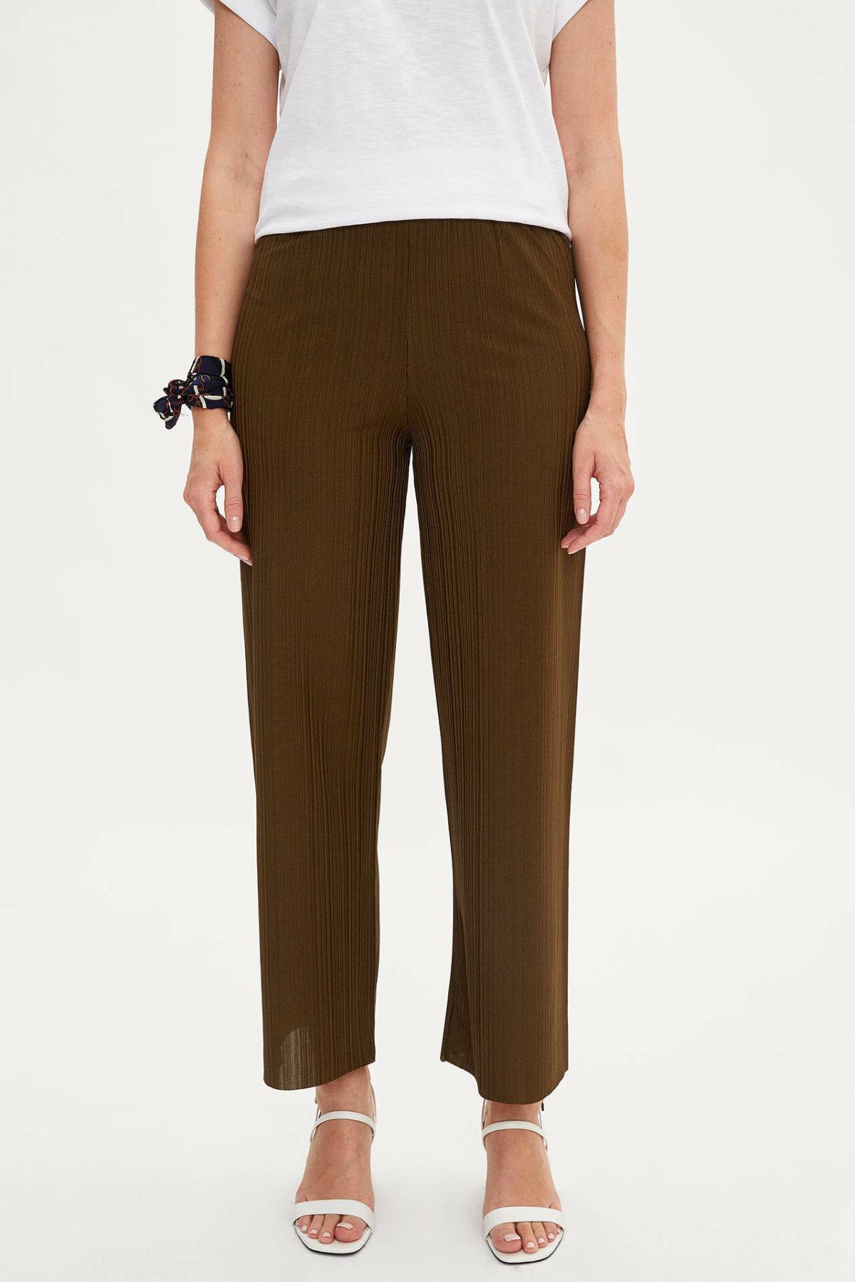 DeFacto New Female Fashion Trousers Ladies Casual Long Pants Comfort Straight Comfort Loose Pants Pure Color - L8471AZ19SM
