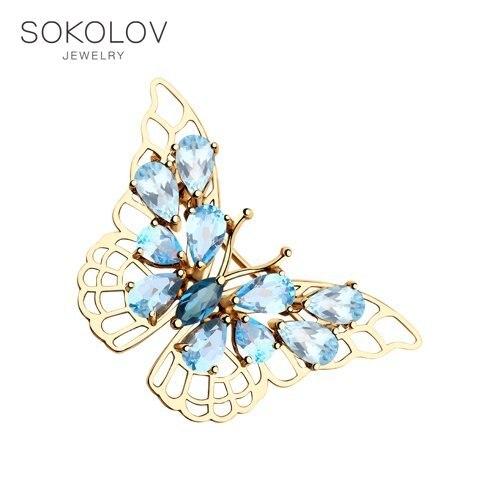 Brooch SOKOLOV Gold With Topaz Fashion Jewelry 585 Women's Male