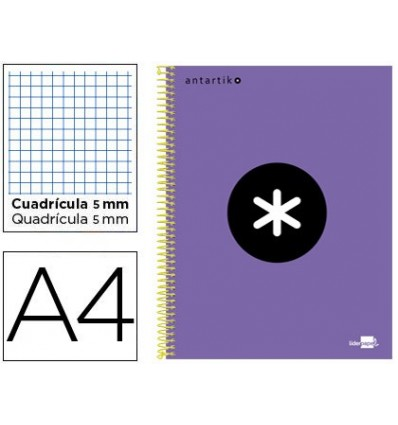 SPIRAL NOTEBOOK LEADERPAPER A4 MICRO ANTARTIK LINED TOP 120H 100 GR CUADRO5MM 5 BANDS 4 DRILLS VIOLET COLOR