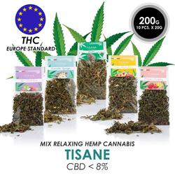 NEWRelaxing Herbal Tea With Hemp Cbd Flowers Made in Italy 100% Legal Mix Tisane Hemp + With Fruit OFFER 200 GRAMS FREE SHIPPING