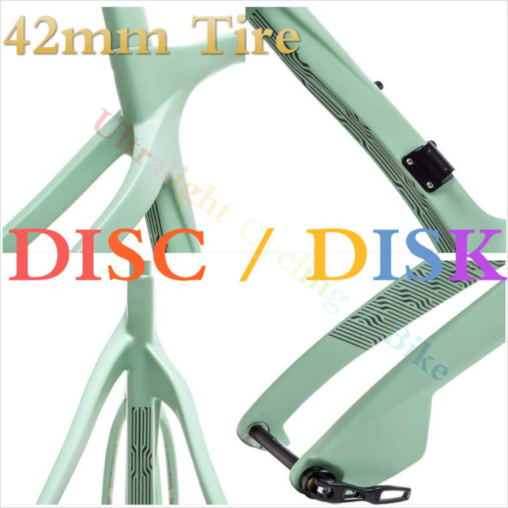 Disc Gravel 42mm Tire Road Bike Frame 700c 650B Cyclocross Discolored Frames Carbon Fork Disk Brake Thru Axle 12*100mm 12*142mm