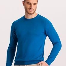 Hateko Men Cotton Mix Crewneck Blue Sweater Slim Fit