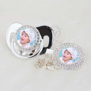 Image 3 - MIYOCAR custom pacifiers dummy any name photo silver bling pacifier and pacifier clip BPA free dummy bling amazing design P 1 P