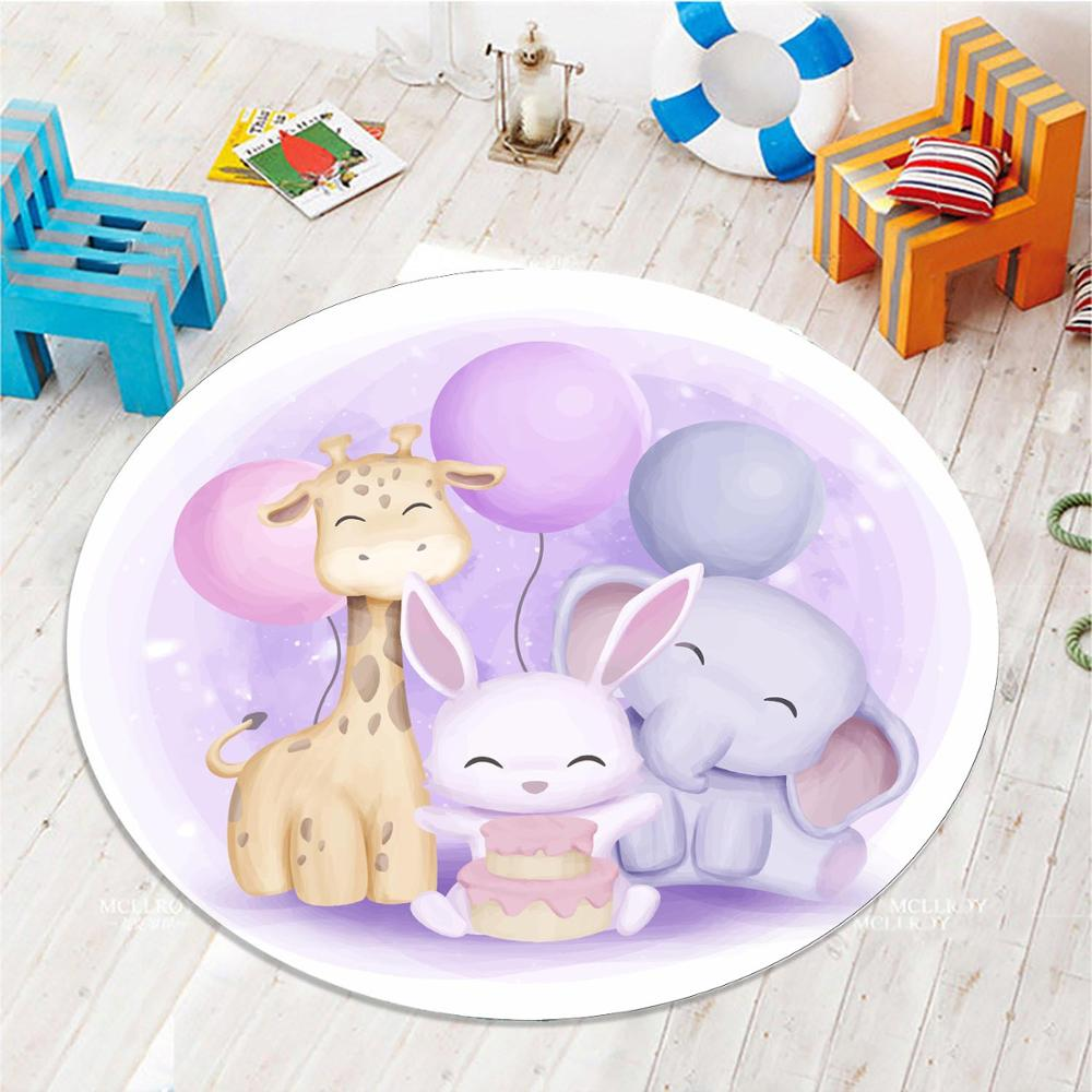 Else Colored Ballons Animals Rabbit Elephant 3d Pattern Print Anti Slip Back Round Carpets Area Rug For Kids Baby Children Room