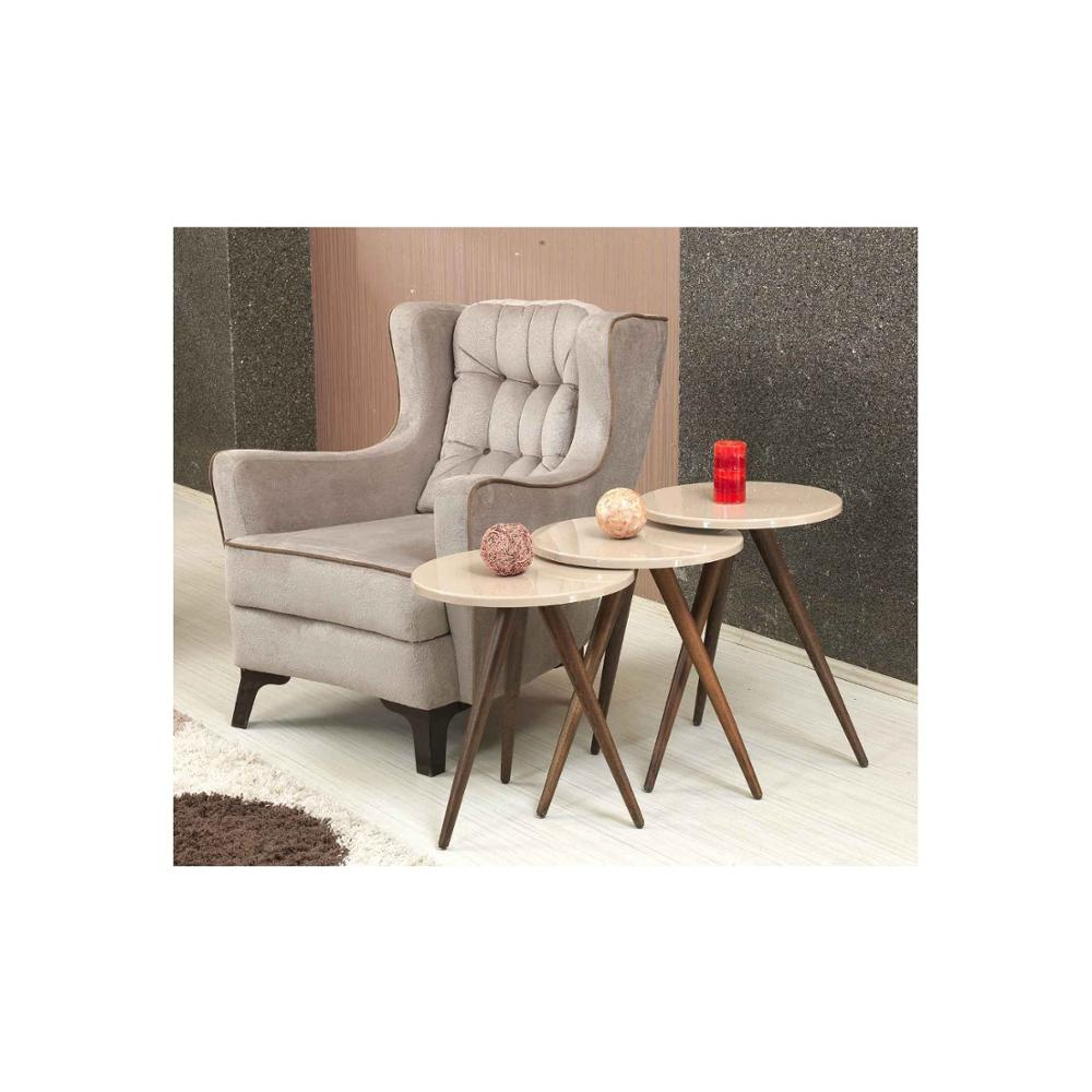 MADE IN TURKEY 3 Pieces Coffee Tables Mini Modern Practical Tea Table Cream Circular Living Room Zigon Wood Home Accessories
