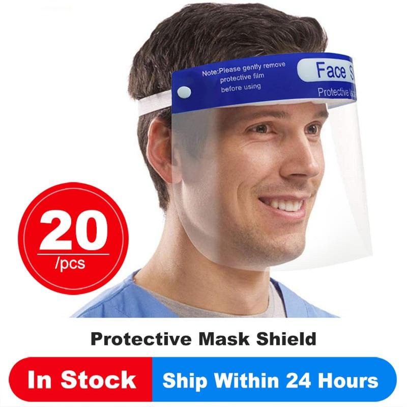 20PCS Transparent Face Shield Safety Protective Masks Anti-Fog Oil-Splash Proof Anti Dust-proof Full Face Mask Safety Masks