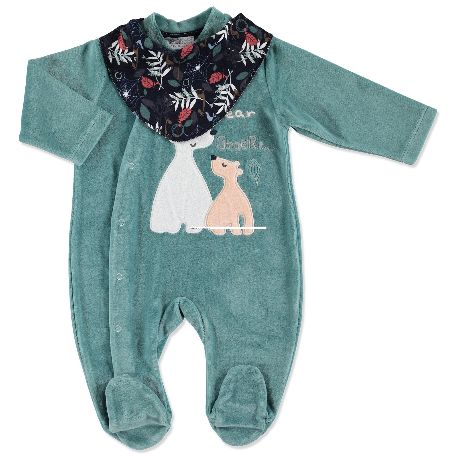 Ebebek HelloBaby Forest Party Baby Velvet Footed Romper Set