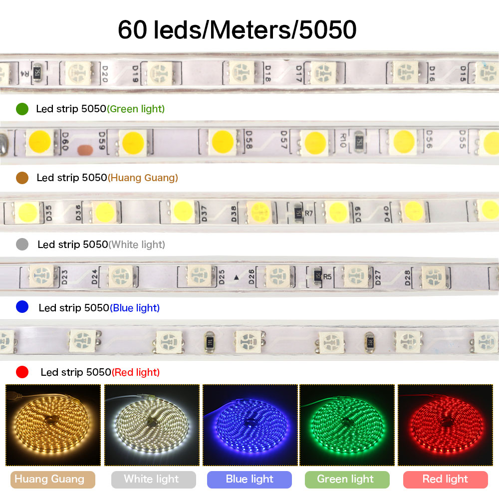 U56d1ad8a3ac64681bc31fe3fa2e02e77N Waterproof SMD 5050 led tape AC220V flexible led strip 60 leds/Meter outdoor garden lighting with EU plug светодиодная лента