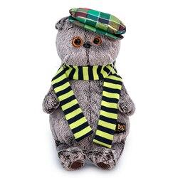 Мягкая игрушка Budi Basa Basik Кот Басик Буди Баса в разноцветной кепке с шарфом, 25 см